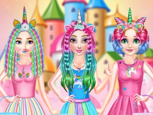 Hra - Princesses Rainbow Unicorn Hair Salon